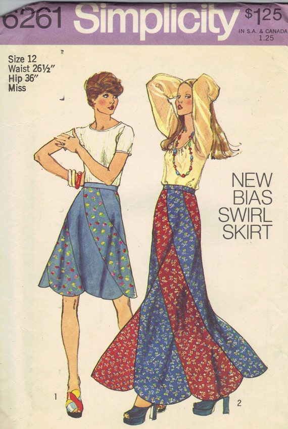 Simplicity Sewing Pattern 70s Boho Hippie Style Paneled Skirt Scalloped Hem Midi Maxi Length Uncut Waist 26 Hip 36