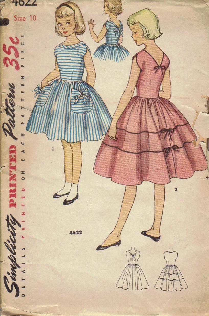 Simplicity Sewing Pattern 1950s Girls Dress Full Circle Skirt