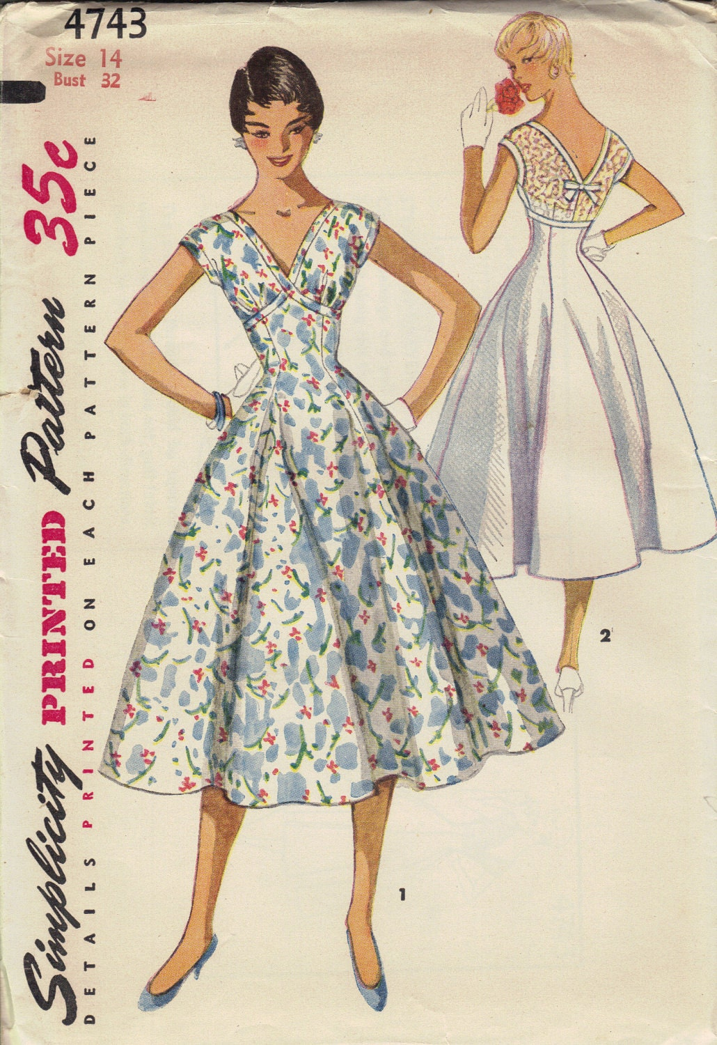 1950s Swing Dress Simplicity Sewing Pattern Full Circle Skirt
