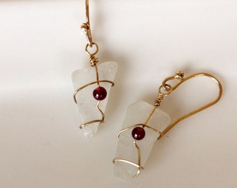 White Sea Glass and Garnet Earrings / 14k gold filled Wire Wrapped Earrings / Handmade Jewelry by Girlthree