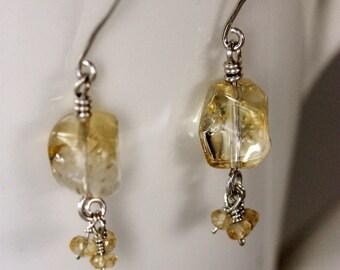 citrine dangle earrings, sterling silver, handmade jewelry by girlthree