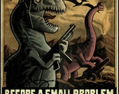 World War II Dinosaur Poster