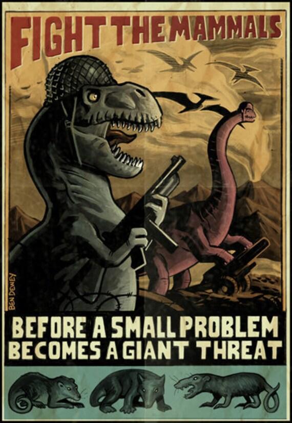 World War II Dinosaur Poster