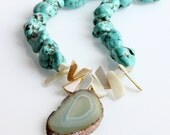 Agate & Turquoise Necklace - Slice, Shell, Aqua, Blue, Sand, Statement, Chunky
