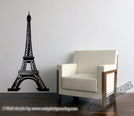 Eiffel Tower Vinyl Wall Decal - 5ft - Home Decor - Baby Nursery Wall Decals - Paris Vintage Theme Wall Decor - Nursery Decor