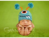 Baby Boy Hat TURQUOISE MONSTER Newborn Baby Boy / Girl Crochet Hat  More Colors Available 0 3 6 months
