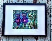 "Art, Owl Painting ""Owl Always love You,"" Original Painting Framed, Purple, Green, Yellow, Blue"