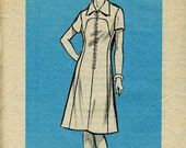 Mail Order 9265: Dress with Front zipper, collar, and sleeve options. Bust 41, Size 18.5. Factory Folds.