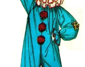 Vintage Iconic 70s Clown Costume with Dunce Hat for Mimes, Clown School, Street Buskers or Boozy Dad Sewing Pattern Size Unisex Large C40-42