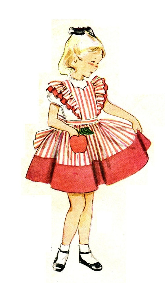 Simplicity 4136 UNCUT and Factory Folded Vintage 1950s Apple Pocket & Pinafore Apron Dress With Applique Transfer Sewing Pattern Size 6 B24