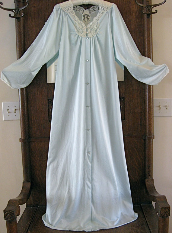 """Vintage Shadow Line Baby Blue Long Robe with Beautiful Ivory Lace Accents - Size M - 53"""" Long"""
