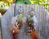 SALE TODAY- Bohemian Feather Earrings- Olive Green and Rust Orange with Rustic Brass- Native Tribal Earrings- Feathers