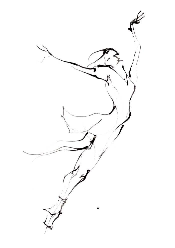 Line Drawing Dancer : Dance drawing series print ballerina iii a