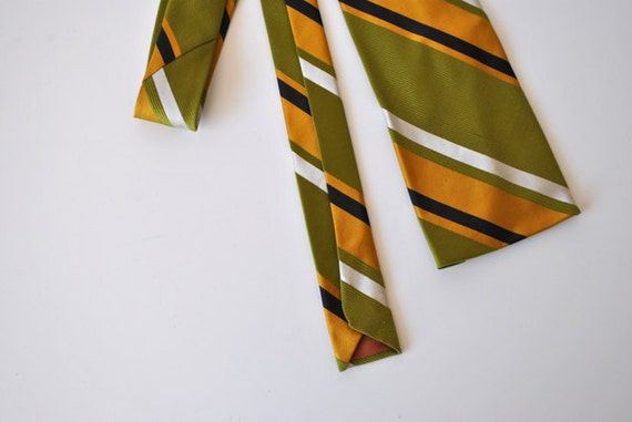 Vintage Striped Silk Necktie - Green, Mustard, Black and White