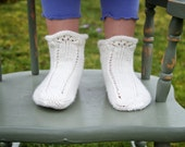 Vanilla Bean Socks - simple vintage spiral lace cotton children's baby socks Knitting Pattern PDF - ChelseaAnneDesign