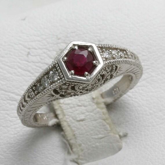 Vintage 14k white gold RED Ruby Diamond Ring Filigree engraving Engagement Ring