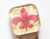 Fleur de lis bookmark, bookmark, glass bookmark, book mark, fleur de lis, france, quebec, french