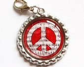 Peace zipper pull, zipper pull, purse charm, bag charm, backpack charm, Peace, Peace Sign, Red (933)