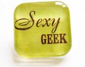 Sexy Geek, Geek, Funny pin, glass pin, lapel pin, Humor, Green, Funny, Stocking Stuffer
