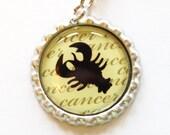 Cancer, Horoscope, Astrology, zipper pull, horoscope charm, cancer charm, purse charm, green (1163)