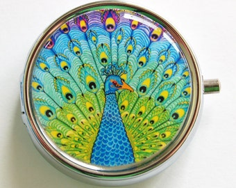 Peacock pill case, Pill Box, Pill Case, Pill Container, Gift for her, pill case for purse, peacock pill box, pill box for purse (811)