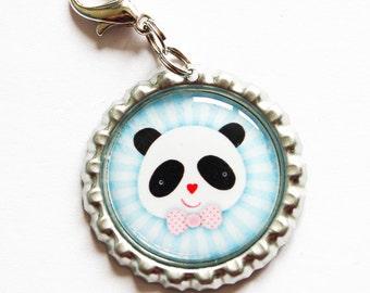 Panda zipper pull, backpack zipper pull, zipper pull, purse charm, bag charm, bottle cap, backpark charm, Panda, Blue