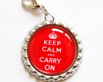 Keep Calm Carry On, Keep Calm charm, zipper pull, purse charm, bottle cap, Red, Keep Calm (967)