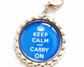 Keep Calm Carry On, Keep Calm charm, zipper pull, purse charm, blue, Keep Calm (968)