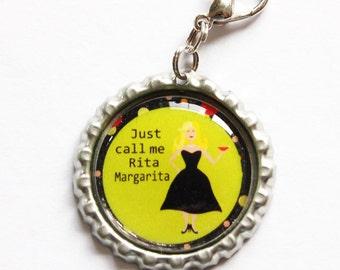 Funny zipper pull, Margarita charm, zipper pull, purse charm, Margarita, humor, bottlecap charm (1024)