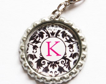 Personalized, Custom zipper pull, backpack zipper pull, zipper pull, purse charm, backpack charm,Bridesmaid Gift, Damask, Black White