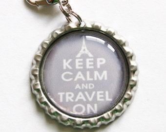 Keep Calm Travel On, Keep Calm charm, backpack zipper pull, zipper pull, purse charm, bottle cap, backpack charm, Travel, paris