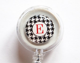 ID Badge Holder, Custom, Personalized, Monogram, Retractable id, Badge clip, black white, houndstooth, badge reel (1123)