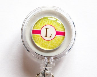 ID Badge Holder, Custom, Personalized, Monogram, Retractable id, Badge reel, green, pink, Custom Badge Reel, Monogram Badge Reel