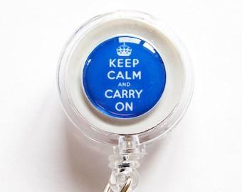 Badge Reel, ID Badge Holder, Keep Calm Carry On, keep calm id badge, Retractable id, Badge clip, Blue, Royal Blue, Keep Calm Badge Reel