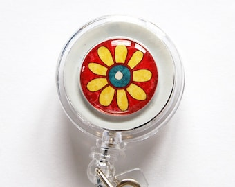 ID Badge Holder, Flower, Retractable id, Badge clip, Name Tag, Red, Yellow