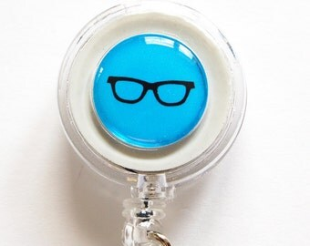 ID Badge Holder, Retractable id, Badge clip, Name Tag, Blue, Glasses, Geek, ID Badge Clip (1157)