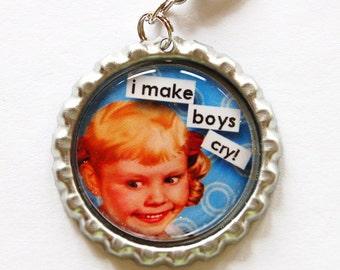 Funny Charm, zipper charm, purse charm, bag charm, bottle cap, I make boys cry, blue, humor