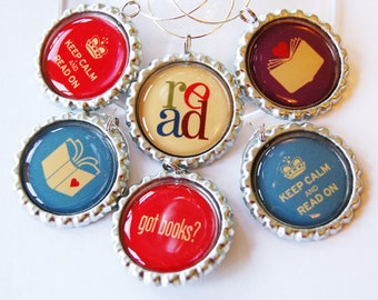 Book club charms, Wine Glass Charms, Wine Charms, Reading, barware, read wine charms, Book Club, book lover (1213)