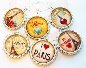 Paris wine charms, Wine Glass Charms, barware, entertaining, Wine Charms, Paris, I Love Paris, Paris charm, eiffel tower (1241)