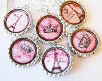 Paris wine charms, Wine Charms, Wine, Paris, I Love Paris, Wine accessories, Paris charm, entertaining, barware,eiffel tower, pink