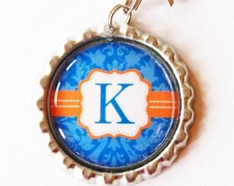 Personalized, Custom zipper pull, backpack zipper pull, zipper pull, purse charm, backpack charm,Bridesmaid Gift, Blue, Orange