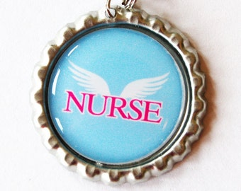 Nurse charm, Angel, Nurse Zipper charm, backpack zipper pull, zipper pull, purse charm, Nurses week, backpack charm, Gift for Nurse, Blue