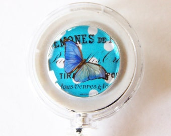ID Badge Holder, Retractable id, Badge clip, Name Tag, Butterfly, Blue