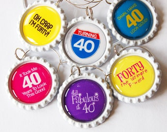 40th Birthday, 40th charms, Wine Glass Charms, Wine Charms, Bottlecap wine charm, Forty, 40th, birthday, humor