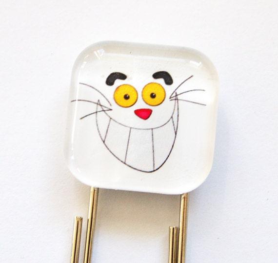 Madhatter Bookmark, Glass Bookmark, book mark, alice wonderland, smile bookmark
