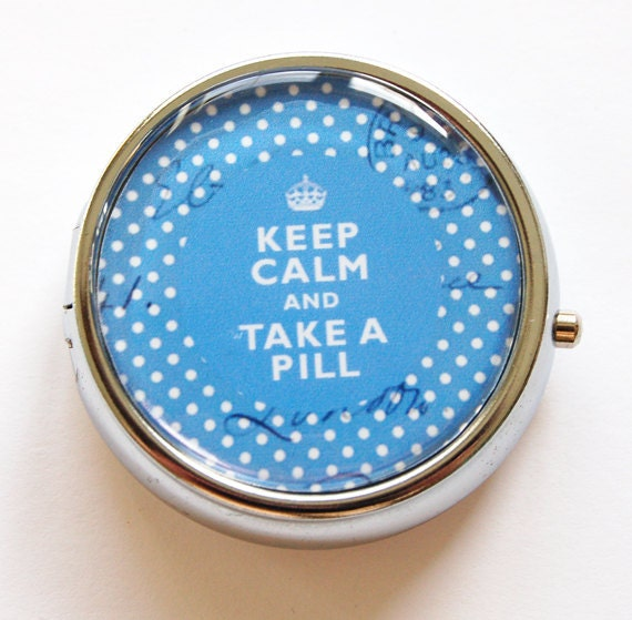 Pill Box, case, Keep Calm Take A Pill, case, Pill Case, Pill Container, Gift for her, Blue (640)