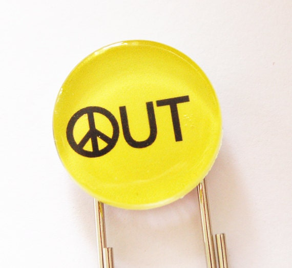 Peace Out Bookmark, Glass Bookmark, book mark, Peace Out, Peace Sign