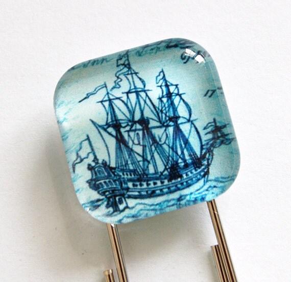 Ship Bookmark, Glass Bookmark, book mark, Blue, Ship, Schooner, gift for him, stocking stuffer (815)
