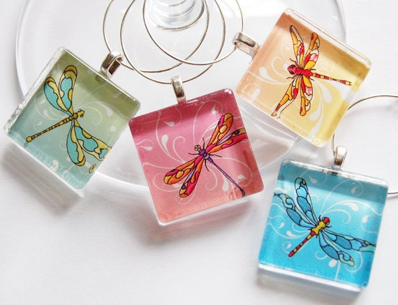 Dragonfly Wine Charm, Wine Charms, Hostess Gift, Colorful, Wine Glass Charm, Dragonfly, Entertainment, Barware