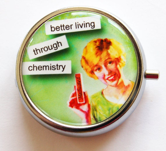 Funny Pill Box, Pill Case, Pill Container, funny pill case, Gift for her, Chemistry, Humor, Green (988)